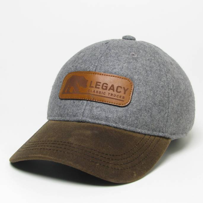 Legacy Classic Trucks Lifestyle & Apparel - Legacy Vintage Wool Flannel Hat - Grey Wool w/ Brown Wax Visor